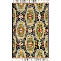 Safavieh Handmade Blossom Charcoal/ Gold Wool Rug - 5' x 8'