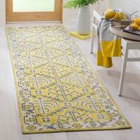 Safavieh Hand-Knotted Stone Wash Vintage Yellow Wool Rug - 2'6 x 10'