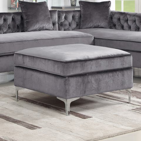 Chic Home Eliott Modern Contemporary Velvet Square Storage Ottoman