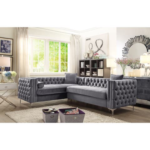 Chic Home Susan Left Hand Facing Sectional Sofa, Velvet Button, Metal Leg with 3 Accent Pillows