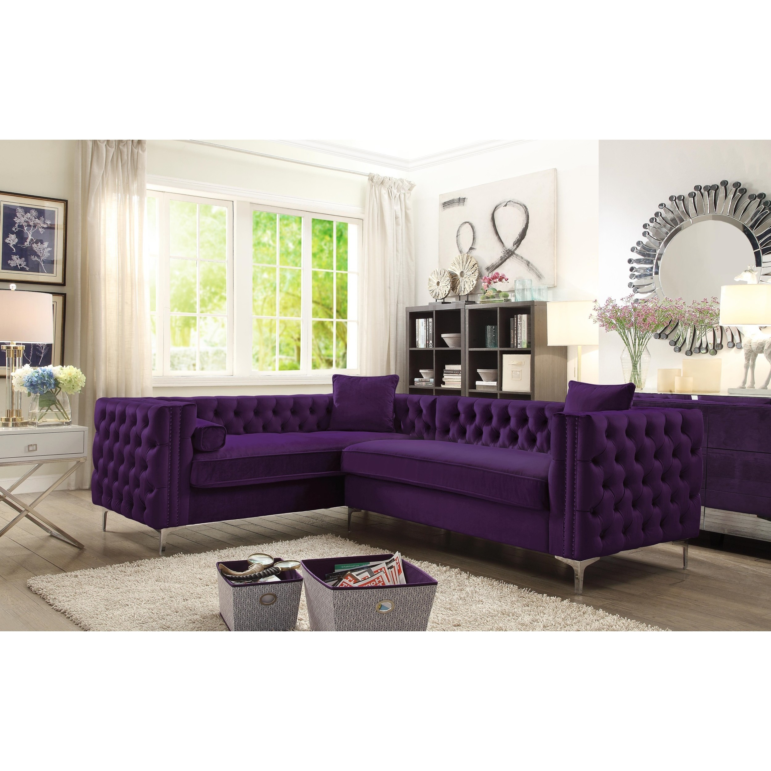 Shop Chic Home Susan Elegant Velvet Deeply Tufted Left Facing Sectional Sofa Overstock 17334107
