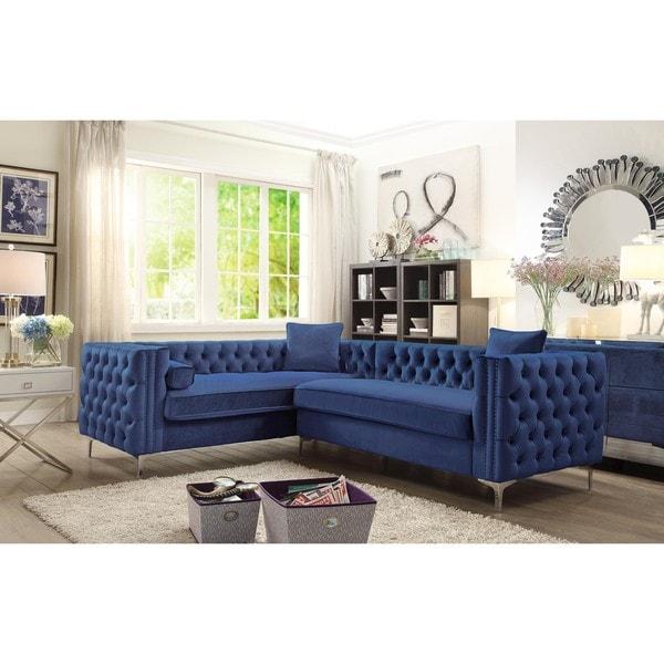 Chic Home Susan Elegant Velvet Deeply Tufted Left-facing Sectional Sofa
