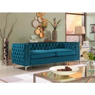 Chic Home Monet Button Tufted Teal Velvet Upholstered Sofa