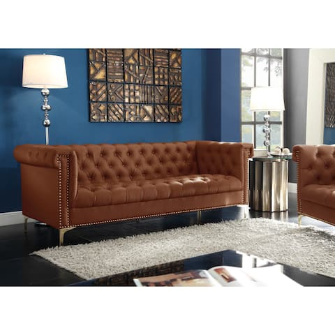 Chic Home Patton Brown PU Leather Button Tufted With Gold Nailhead Trim Sofa