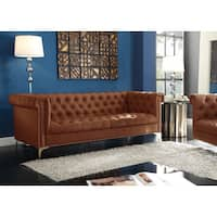 Chic Home Patton Brown PU Leather/Goldtone Metal Button Tufted With Gold Nailhead Trim Y-leg Sofa