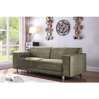 Chic Home Nancy Elegant Velvet Modern Contemporary Plush Cushion Seat Chrome Legs Sofa