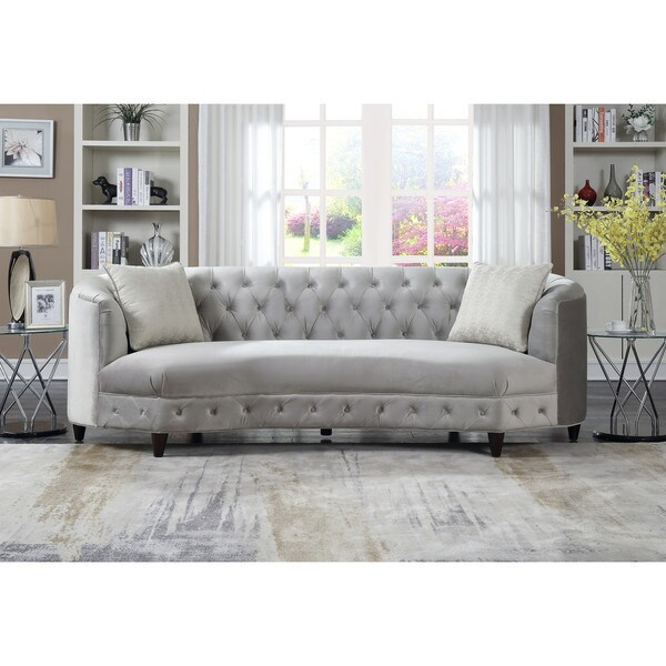 Bon Chic Home Tamika Kidney Shaped Club Sofa In Tufted Velvet Down With Mix  Cushions Cone Legs