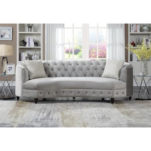 Chic Home Tamika Kidney Shaped Club Sofa in Tufted Velvet Down with Mix Cushions Cone Legs Couch