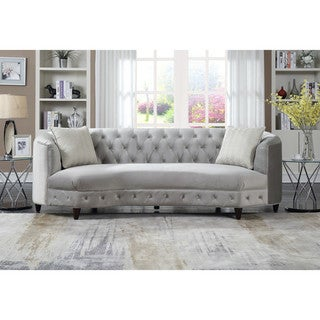 chic home tamika kidney shaped club sofa in tufted velvet down with mix cushions cone legs
