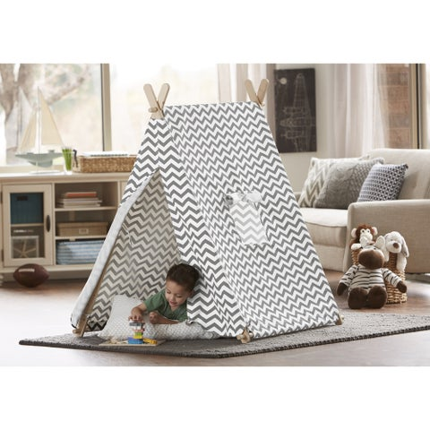 Merry Products Grey & White Zigzag Indoor Kid's Tent
