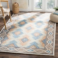 Safavieh Handmade Micro-loop Blue/ Beige Wool Rug - 4' x 6'