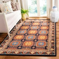 Safavieh Handmade Heritage Navy/ Orange Wool Rug - 6' x 9'