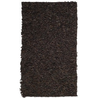 Safavieh Hand-Knotted Leather Shag Dark Brown Leather Rug (6' x 9')