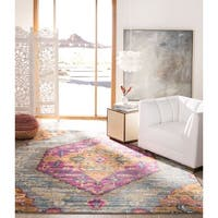 Safavieh Madison Light Grey/ Fuchsia Rug - 6' x 9'
