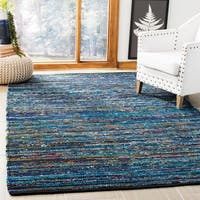 Safavieh Hand-Woven Rag Rug Turquoise/ Black Cotton Rug - 5' X 8'