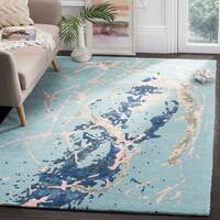 Safavieh Handmade Soho Blue/ Light Pink Viscose Rug - 5' x 8'