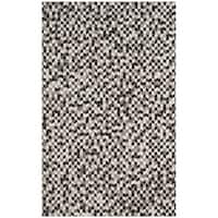 Safavieh Hand-Woven Studio Leather Grey/ Black Leather Rug - 5' x 8'