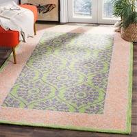 Safavieh Hand-Hooked Suzani Green/ Violet Wool Rug (5' x 8')