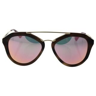 Prada SPR 12Q USG-5L2 - Women's Striped Brown/Grey Yellow Rose Sunglasses