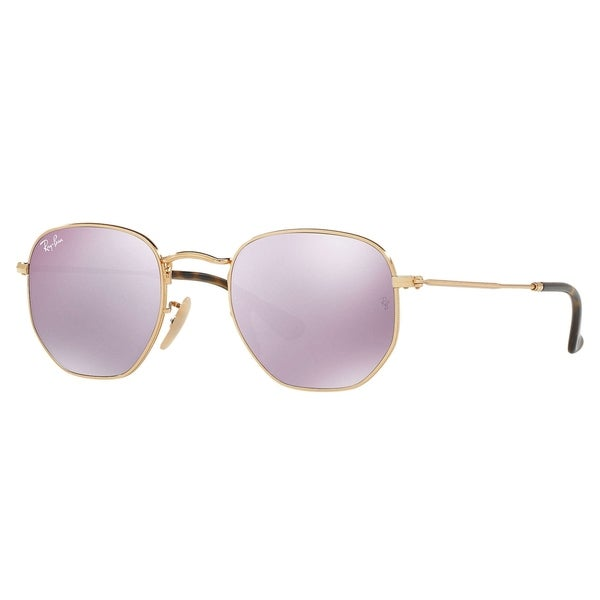3a24529ac0f Ray-Ban RB3548N Hexagonal Flat Lenses Sunglasses Gold  Lilac Flash 51mm -  Gold