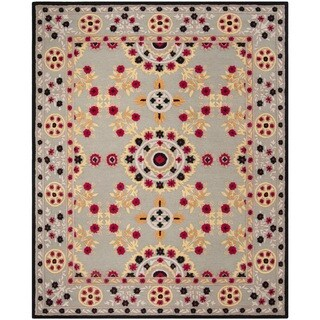 Safavieh Handmade Bellagio Light Grey/ Black Wool Rug (8' x 10')