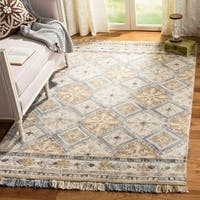 Safavieh Handmade Blossom Beige/ Light Blue Wool Rug (8' x 10')