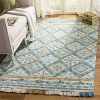 Safavieh Handmade Blossom Ivory/ Teal Wool Rug (8' x 10')