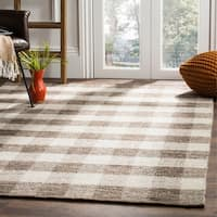 Safavieh Hand-Woven Kilim Light Grey/ Brown Wool Rug - 8' x 10'