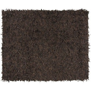 Safavieh Hand-Knotted Leather Shag Dark Brown Leather Rug (8' x 10')
