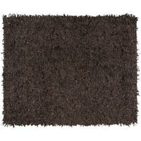 Safavieh Hand-Knotted Leather Shag Dark Brown Leather Rug - 8' x 10'