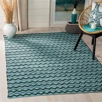 Safavieh Hand-Woven Montauk Turquoise/ Blue/Black Cotton Rug - 9' x 12'