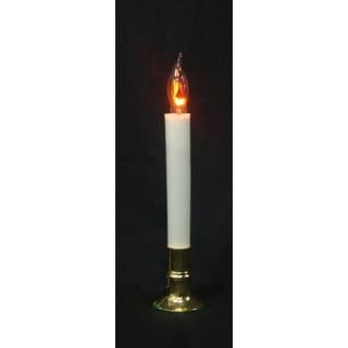 """8.75"""" Brass Flicker Flame Christmas Indoor Candle Lamp - Clear C7 Light"""