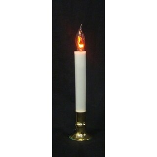 "8.75"" Brass Flicker Flame Christmas Indoor Candle Lamp - Clear C7 Light"