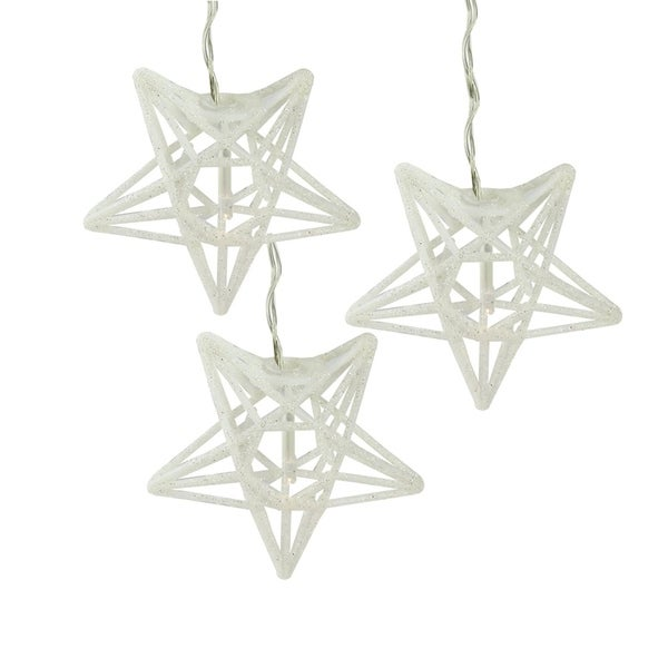 set of 10 battery operated sparkling white glittered star clear christmas lights silver wire