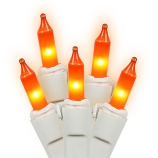 Set of 100 Opaque Orange Mini Christmas Lights - White Wire