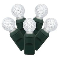 Set of 50 Cool White Commercial Grade LED G12 Berry Christmas Lights - Green Wire