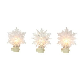 """Set of 3 Icy Crystal Decorative Clear Snowflake Christmas Night Lights 5.75"""""""