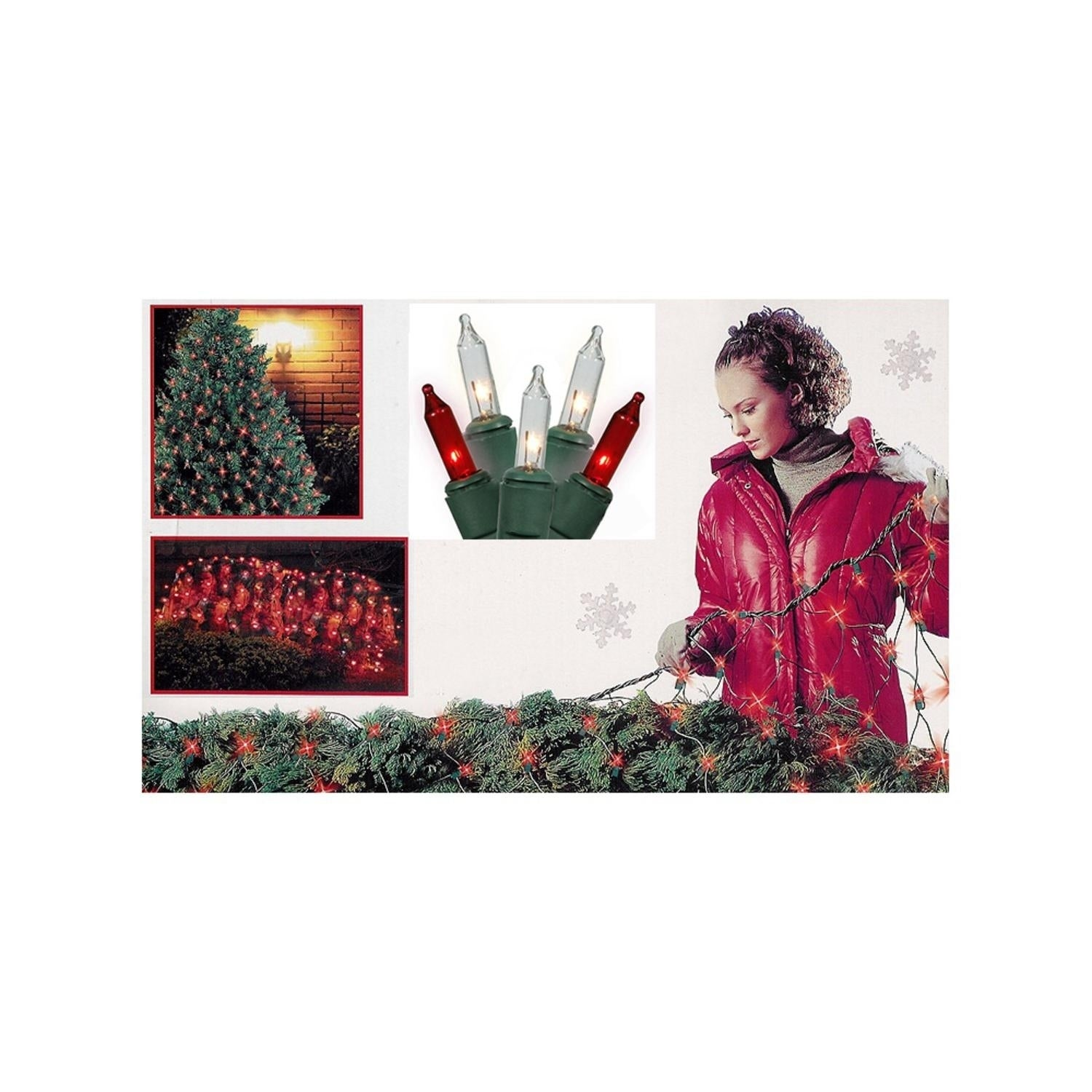 Sienna 4' x 6' Red and Clear Mini Net Style Christmas Lig...