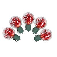 Set of 25 Red LED G40 Tinsel Christmas Lights - Green Wire