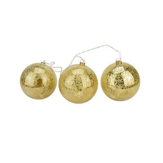 Set of 3 Lighted Gold Mercury Glass Finish Ball Christmas Ornaments - Clear Lights