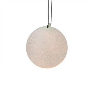 "7"" White Lighted Twinkling Shimmering Sphere Patio Christmas Decoration"