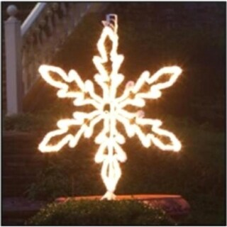 "36"" Lighted White Hanging Snowflake Christmas Decoration - Clear Lights"