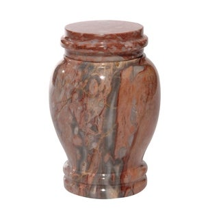 Polished Marble Decorative Cremation Urn with Lid, Pink