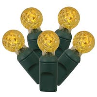 "Set of 100 Yellow LED G12 Berry Christmas Lights 4"" Spacing - Green Wire"