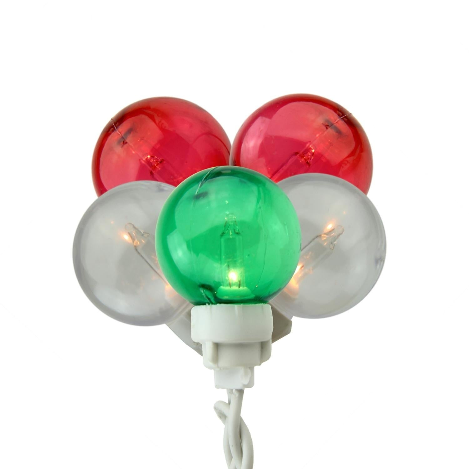 Sienna Set of 100 Green Red and White G30 Globe Icicle Ch...