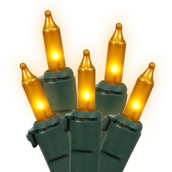 set of 100 opaque gold mini christmas lights green wire