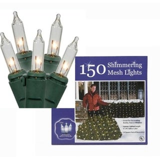 4' x 6' Clear Twinkling Mini Net Style Christmas Lights - Green Wire