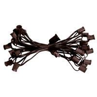 "25' Commercial C7 Christmas Light Socket Set - 12"" Spacing 18 Gauge Brown Wire"