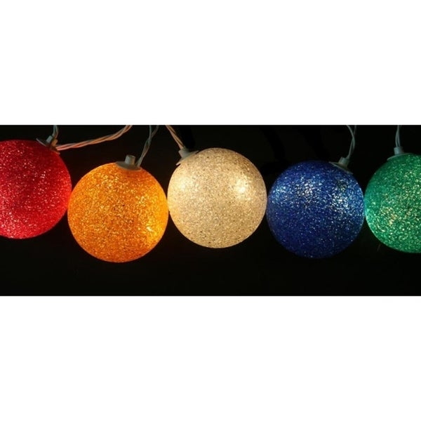 set of 6 multi colored lighted twinkling sphere party patio wedding christmas lights white - Lighted Wire Christmas Decorations