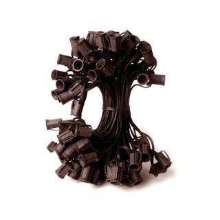 "50' Commercial C7 Christmas Light Socket Set - 12"" Spacing 18 Gauge Brown Wire"